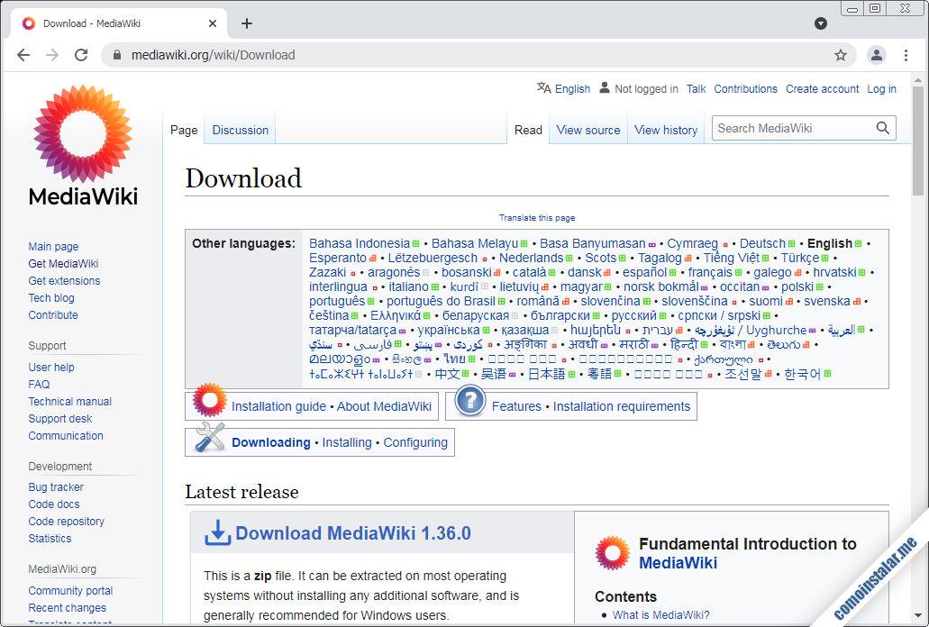 como descargar mediawiki para centos 8