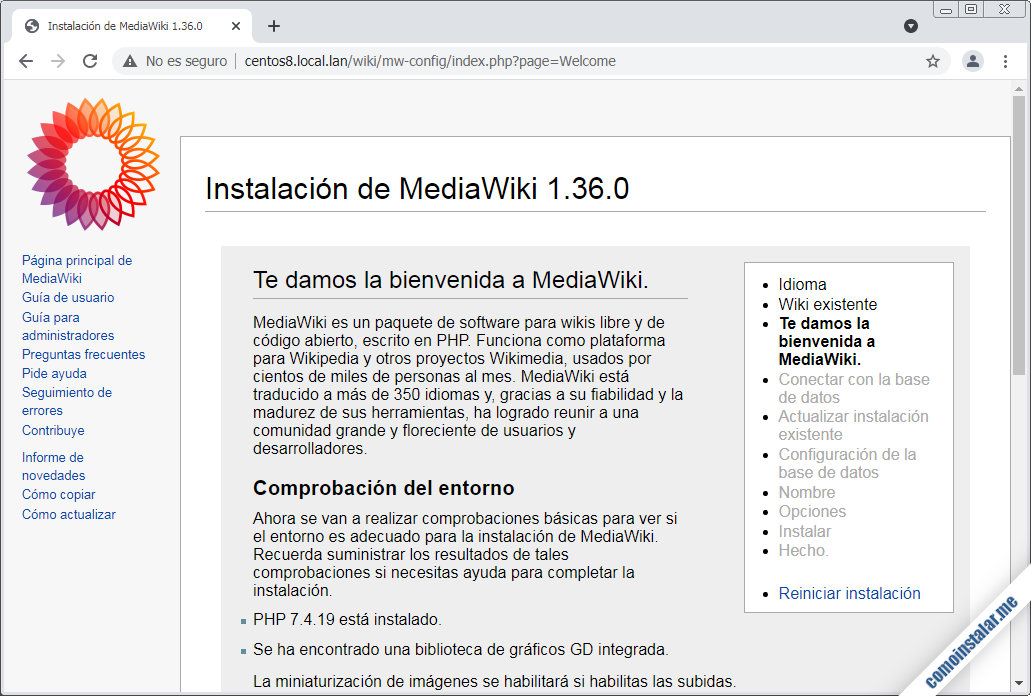 instalacion de mediawiki en centos 8