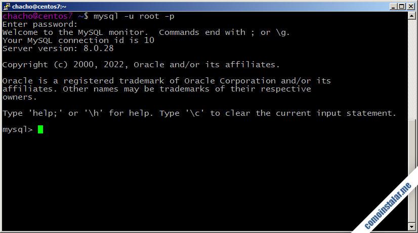 como instalar y configurar mysql en centos 7