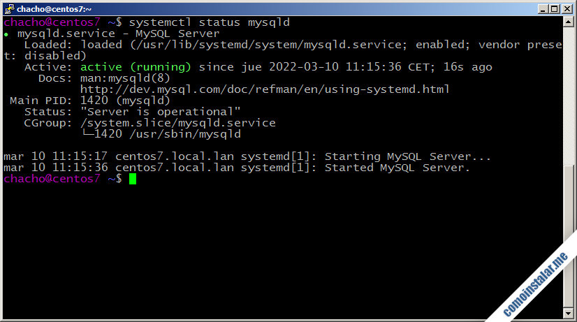 como instalar mysql server en centos 7