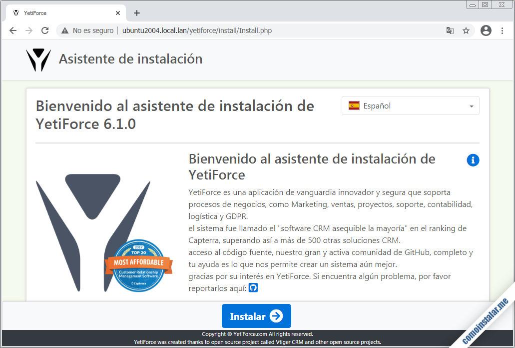 como instalar yetiforce en ubuntu 20.04 lts