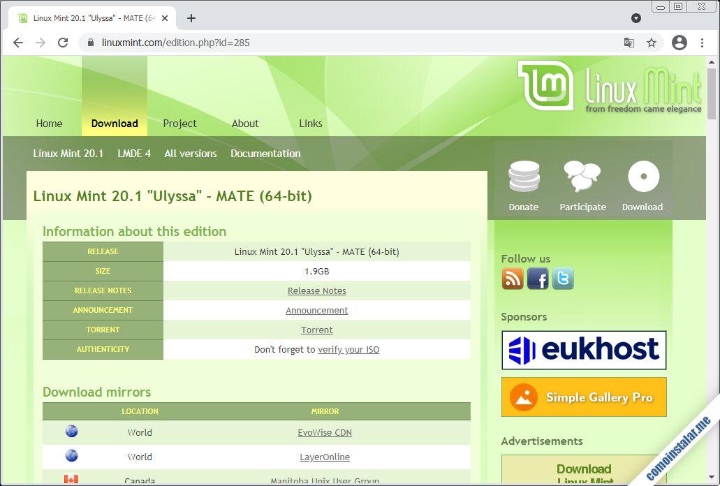 descargar linux mint 20.1 ulyssa para virtualbox