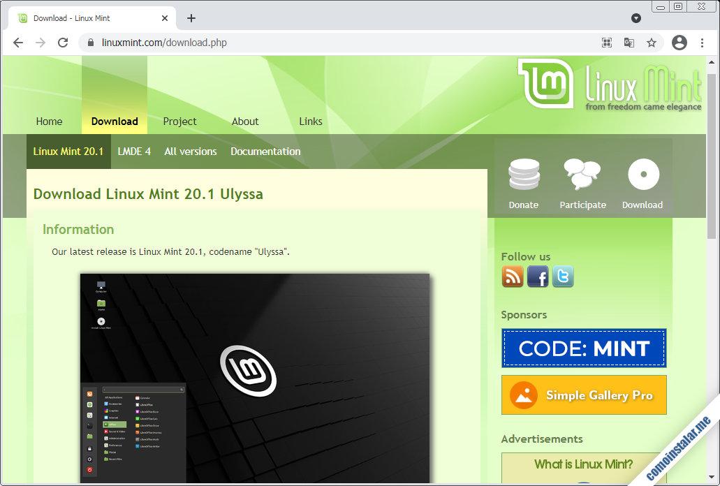 como descargar linux mint 20.1 ulyssa para virtualbox