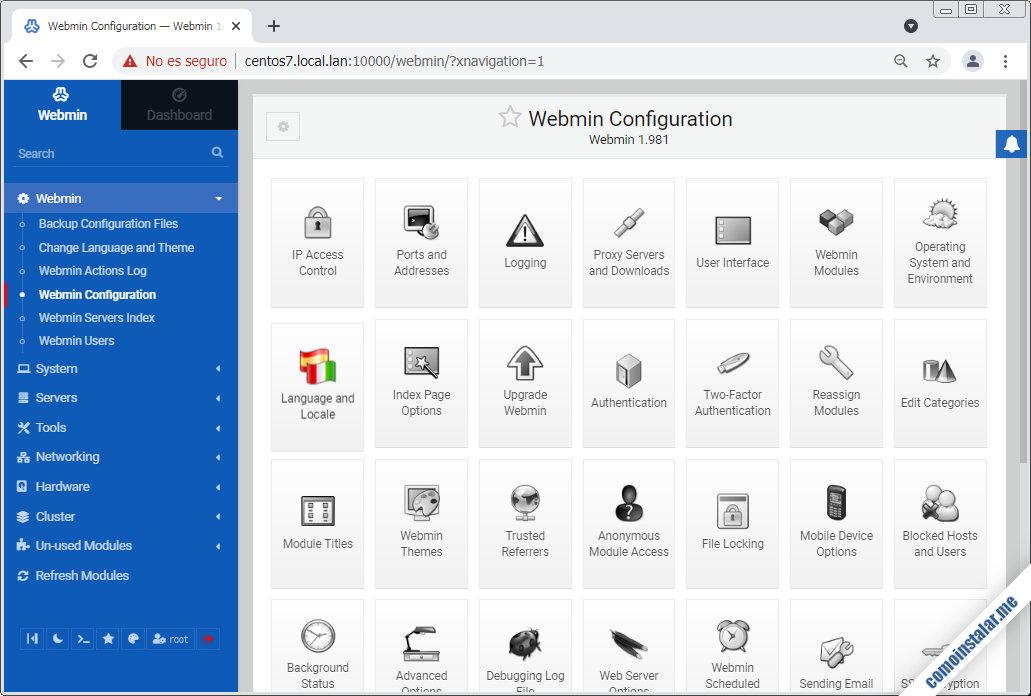 como configurar webmin en centos 7