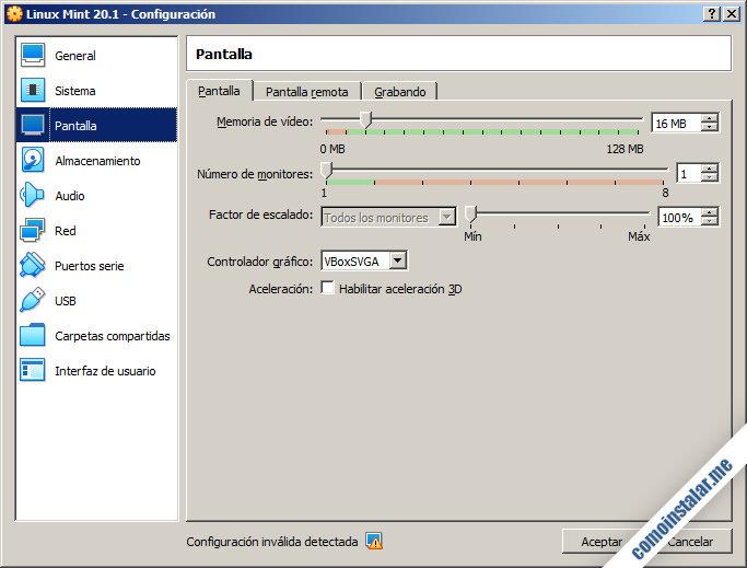 configurar la máquina virtual de linux mint 20.1 ulyssa