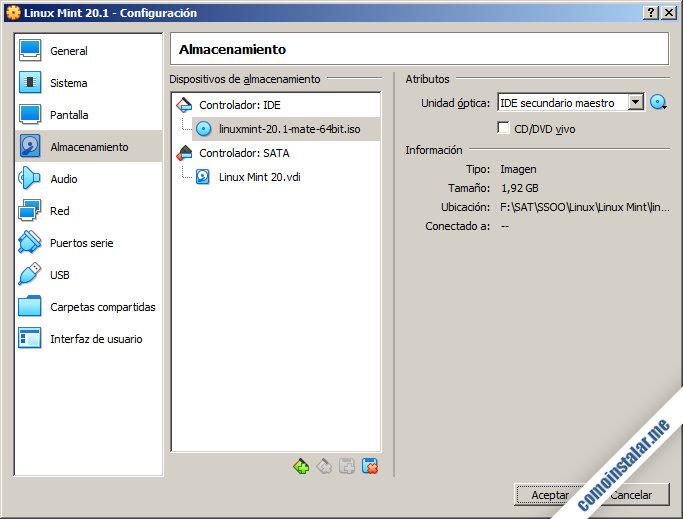 configuracion de la maquina virtual para linux mint 20.1 ulyssa