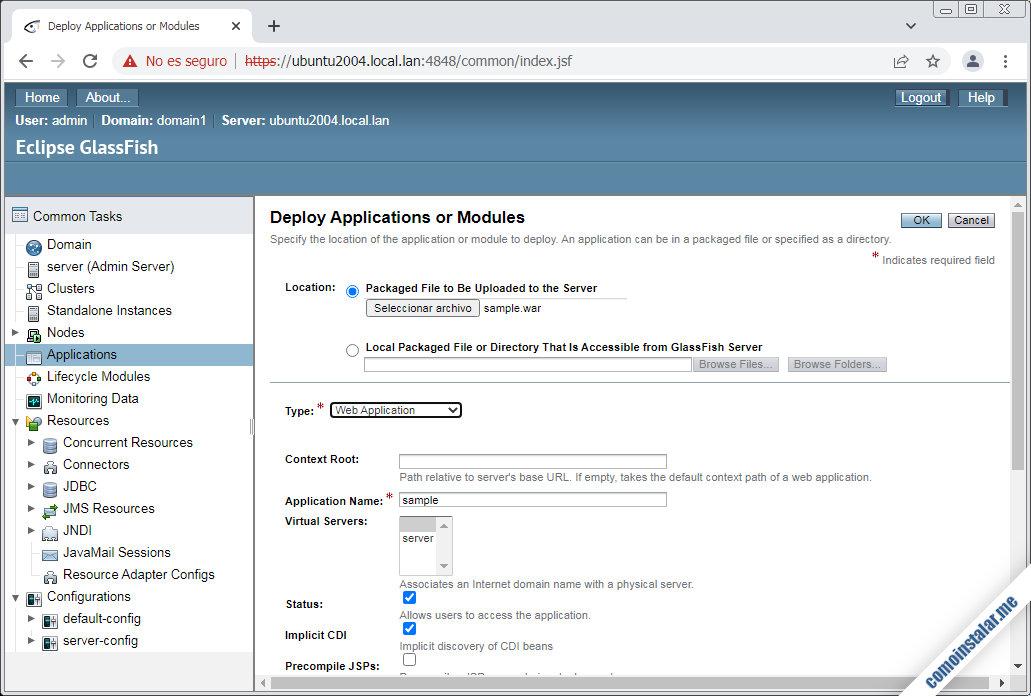 desplegar aplicaciones en glassfish sobre ubuntu 20.04 lts