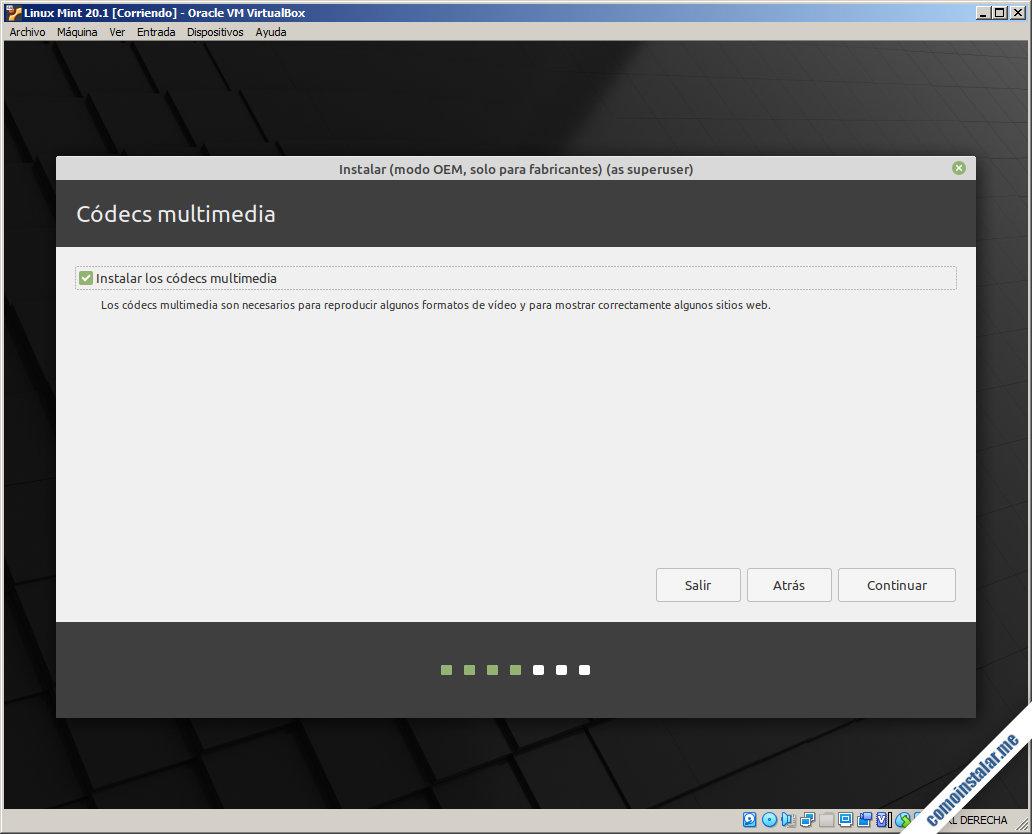 instalador de linux mint 20.1 en virtualbox