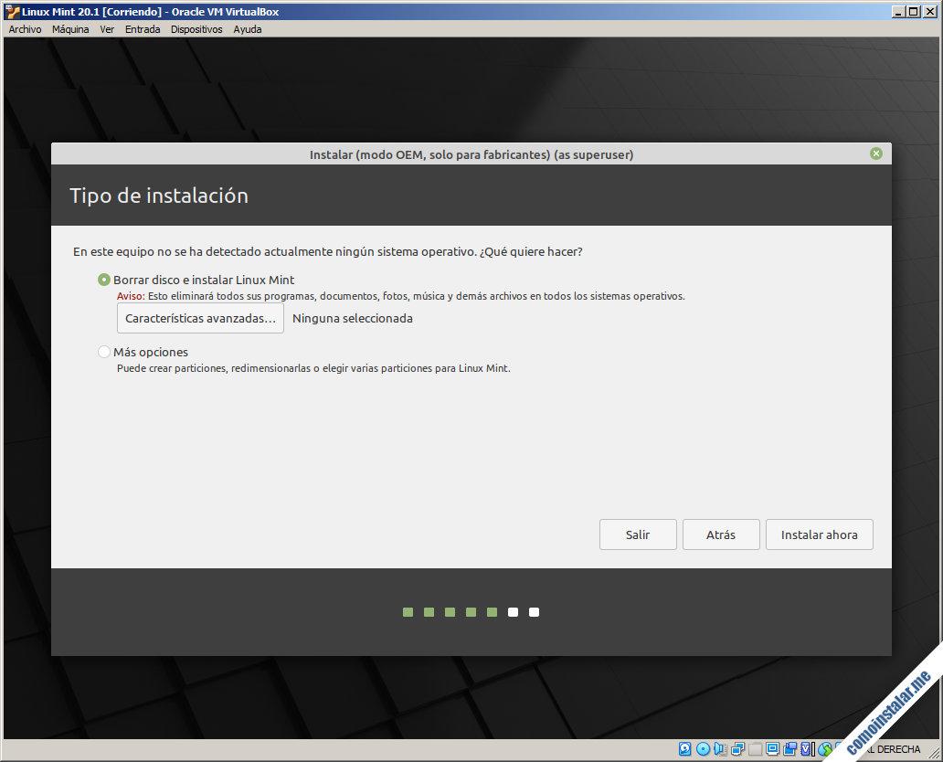 instalando linux mint 20.1 en virtualbox