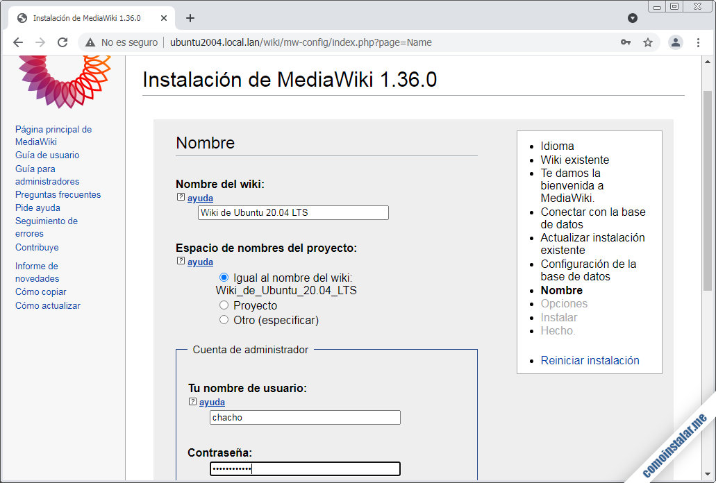 instalar mediawiki en ubuntu 20.04 server
