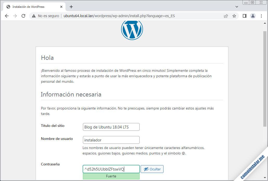 configurar wordpress en ubuntu 18.04 lts bionic beaver