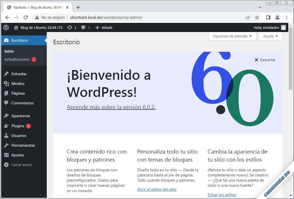 wordpress en ubuntu 18.04 LTS bionic beaver