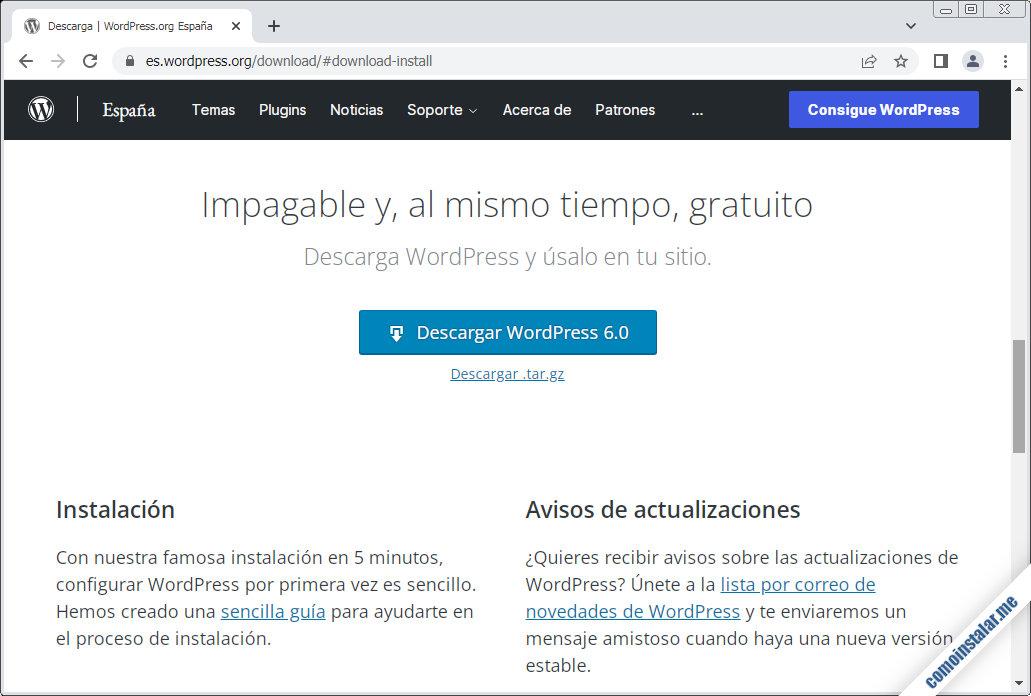 como descargar wordpress para ubuntu 20.04 lts focal fossa