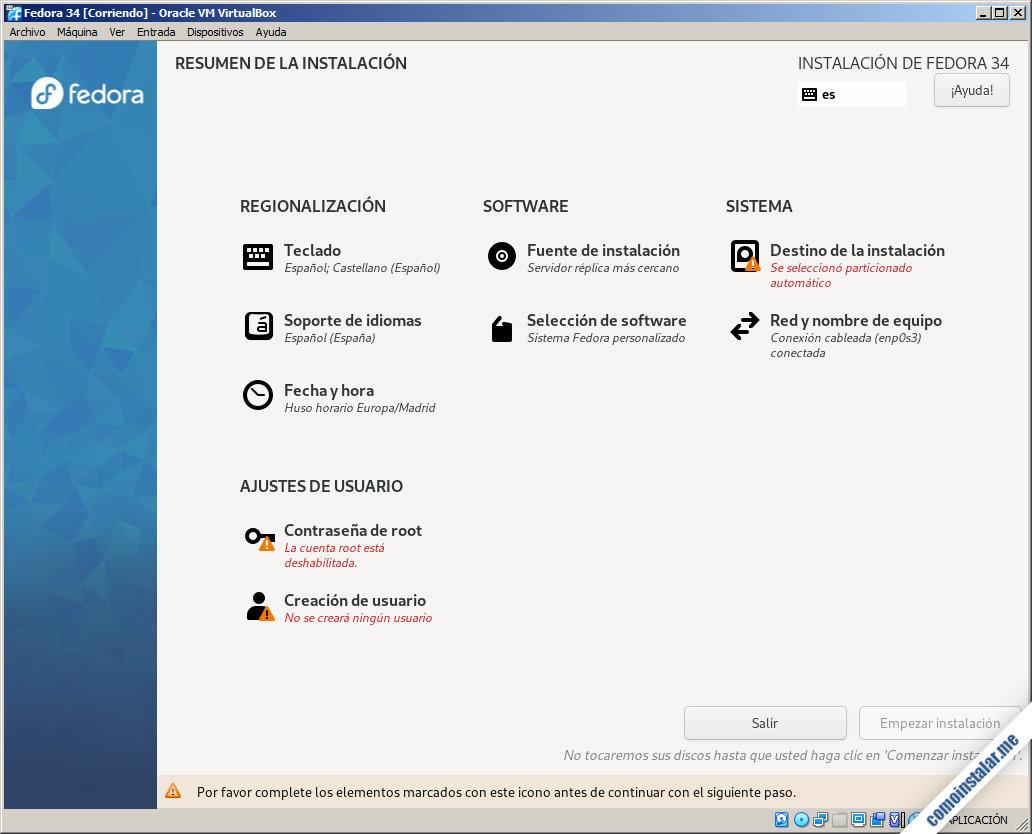 instalacion de fedora 34 en virtualbox