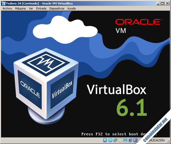 maquina virtual de fedora 34 en virtualbox