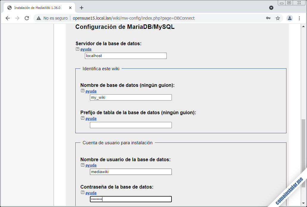 instalador de mediawiki para opensuse leap 15