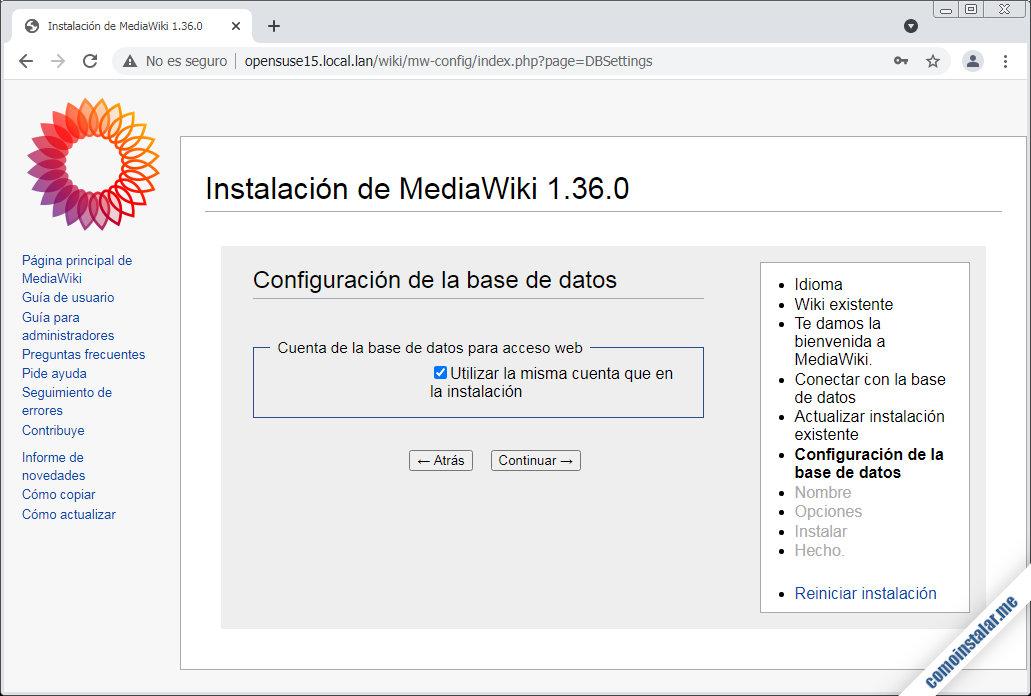 instalando mediawiki en opensuse leap 15