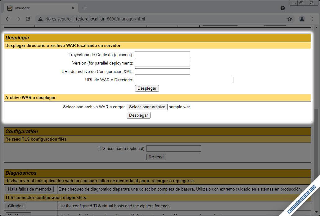 desplegar aplicaciones en tomcat 10 para fedora 34, 33 y 32