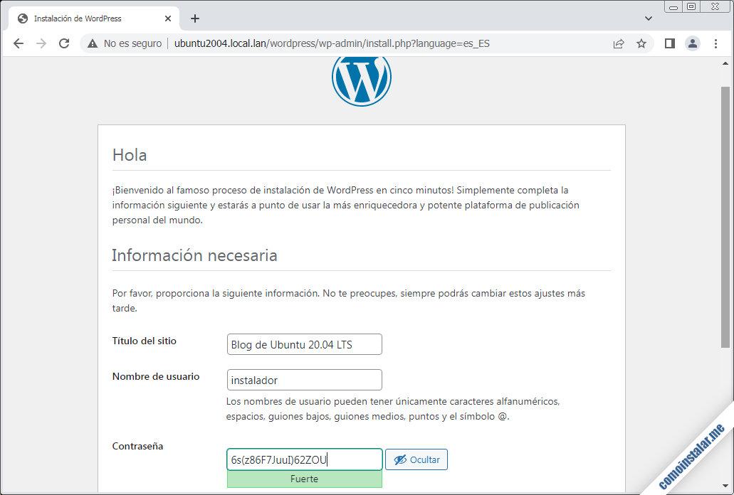 instalador de wordpress en ubuntu 20.04 lts focal fossa