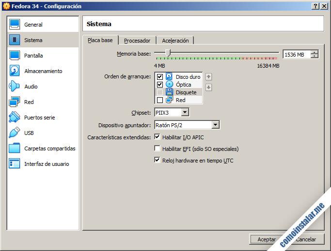 como configurar la maquina virtual de fedora 34