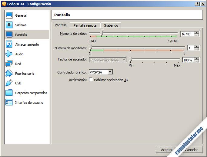 configurar la maquina virtual de fedora 34