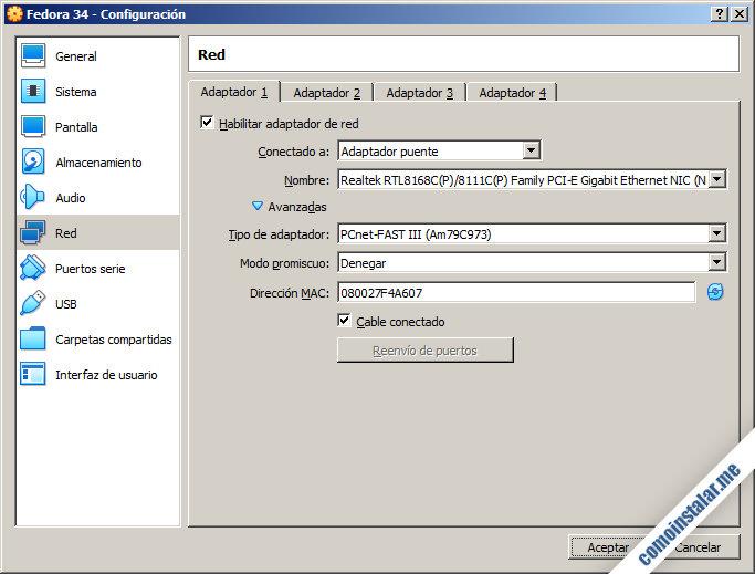 configuracion de red de virtualbox para fedora 34
