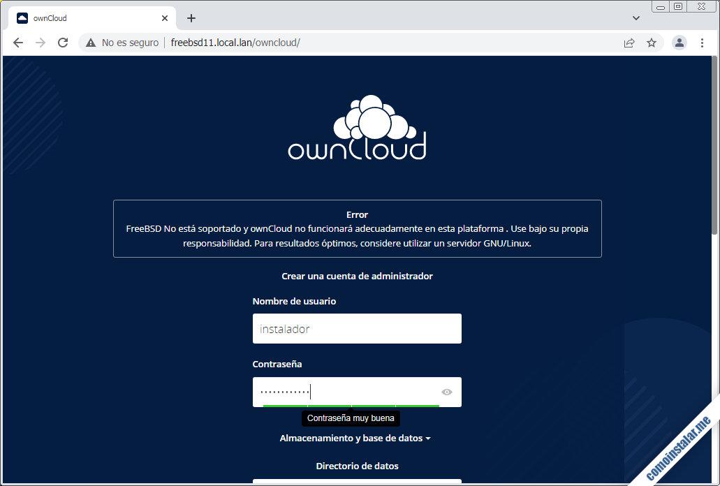 como instalar owncloud en freebsd 11