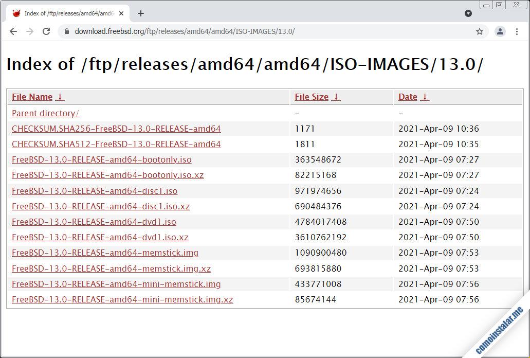descargas de freebsd 13 para virtualbox