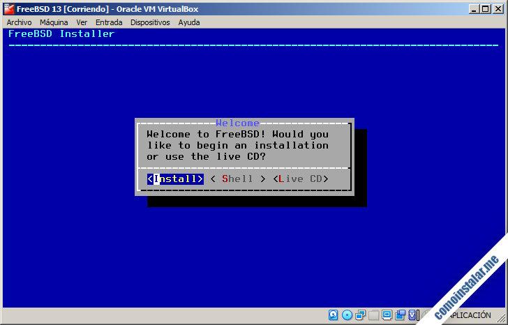 instalacion de freebsd 13 en virtualbox