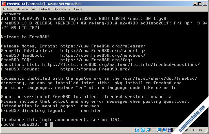 freebsd 13 para virtualbox
