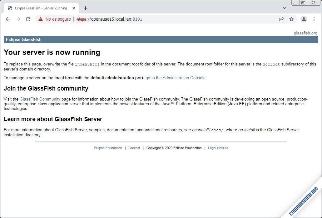 instalacion de glassfish en opensuse leap 15.1, 15.2 y 15.3