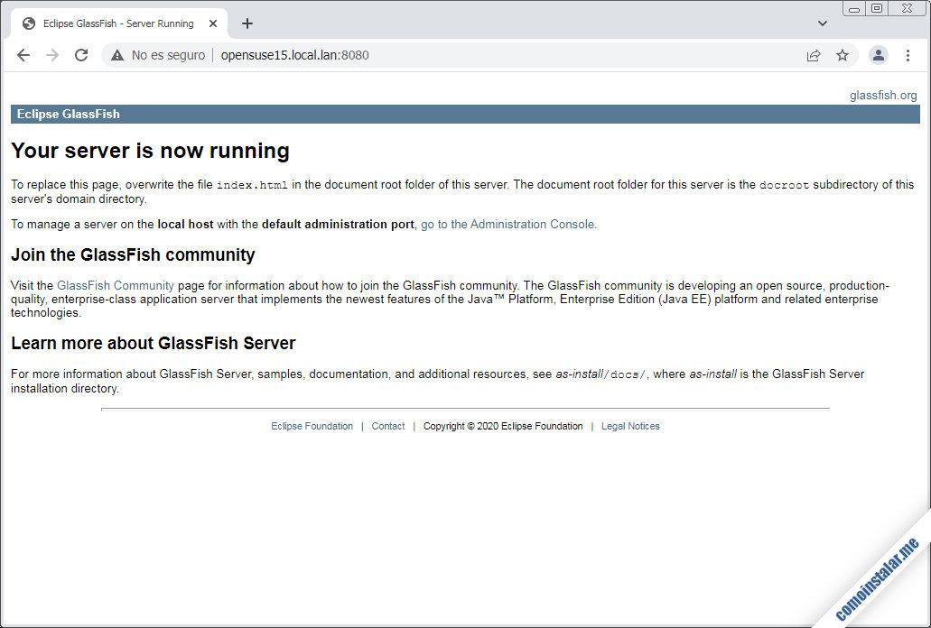 como instalar glassfish en opensuse leap 15.1, 15.2 y 15.3