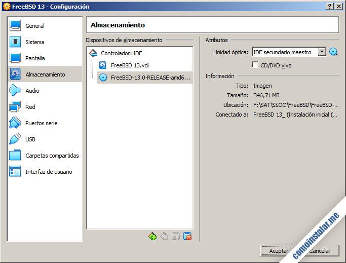 configurar la maquina virtual de freebsd 13 en virtualbox