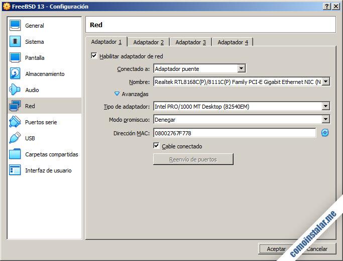 configuracion de la maquina virtual de freebsd 13 en virtualbox