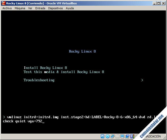 instalando rocky linux 8 en virtualbox