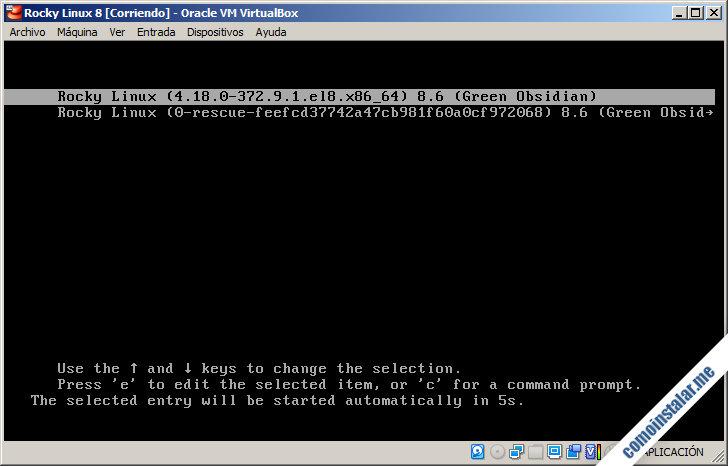 rocky linux 8 en virtualbox