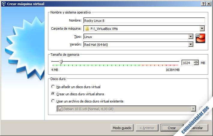 como crear la maquina virtual para rocky linux 8 en virtualbox