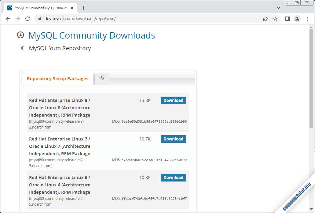 como configurar el repositorio oficial de mysql para rocky linux 8