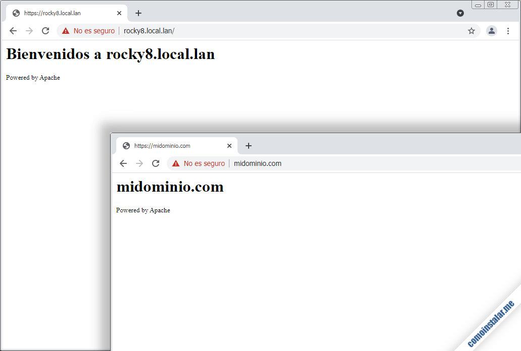 servidores virtuales con ssl en apache para rocky linux 8