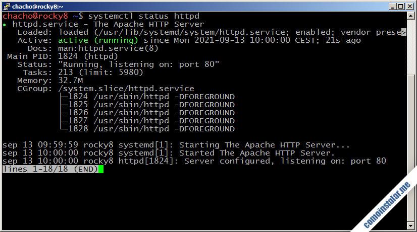 como instalar el servidor web apache en rocky linux 8