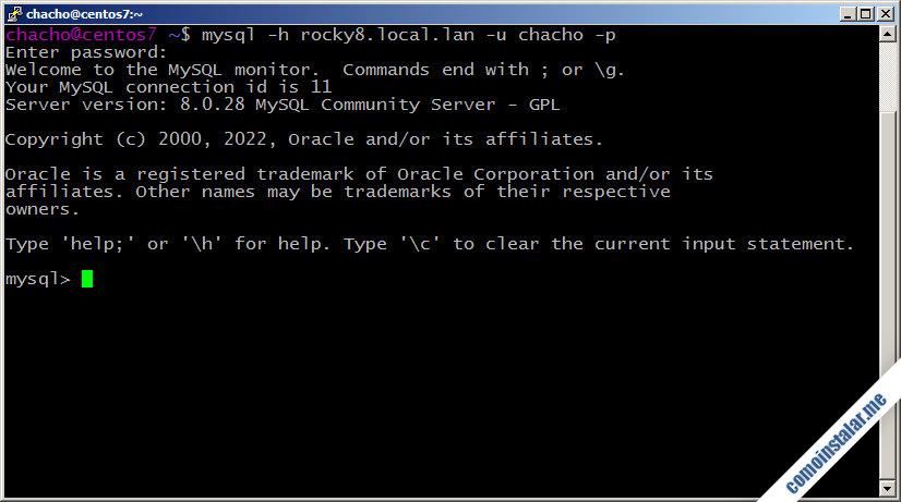 acceso remoto a mysql server en rocky linux 8