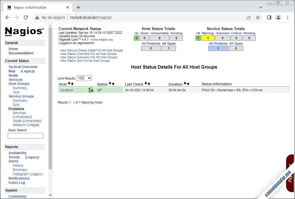 interfaz web de nagios core sobre rocky linux 8
