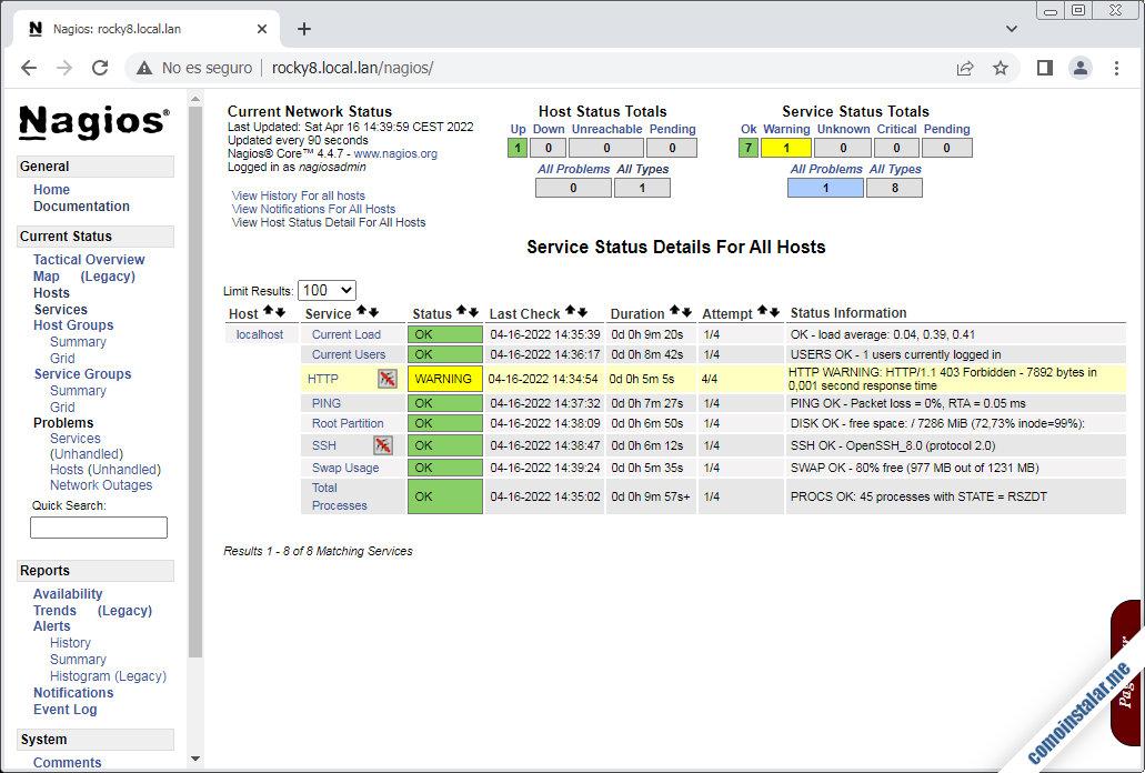 como monitorizar recursos con nagios en rocky linux 8