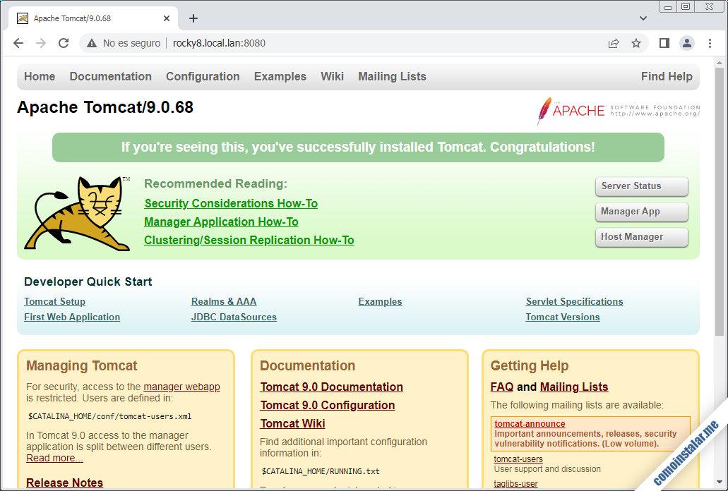 instalar tomcat 9 en rocky linux 8