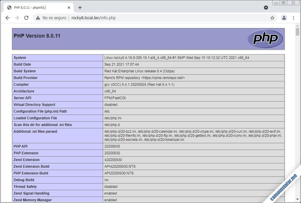 como instalar php 8.0 en rocky linux 8